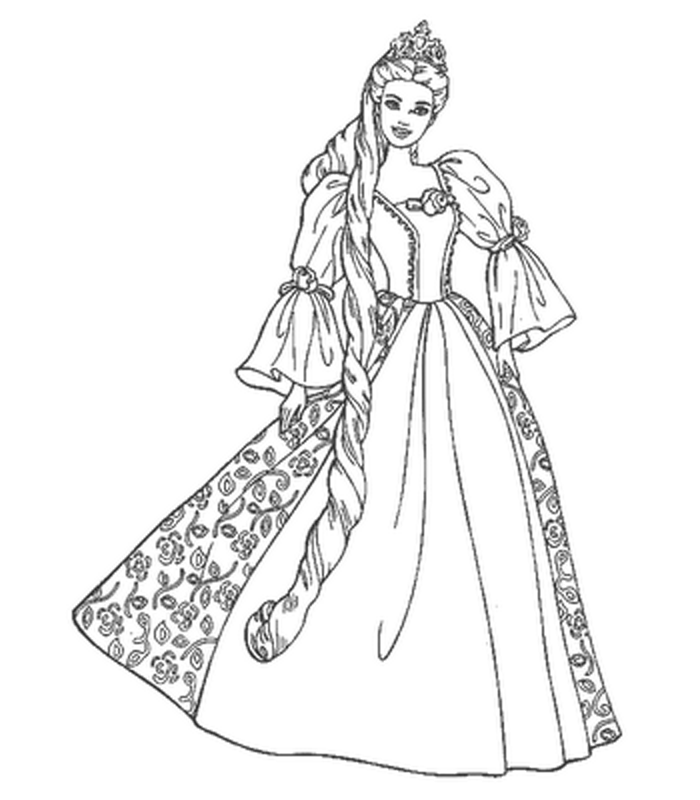 Barbie Rapunzel Coloring Pages - Coloring Home