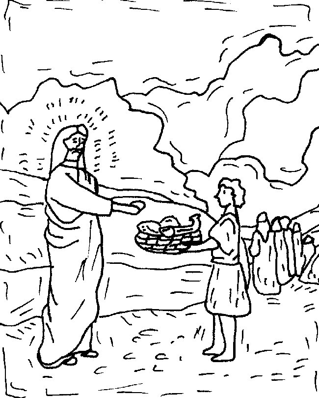 Jesus Feeds 5000 Coloring Pages - Free Printable Coloring Pages
