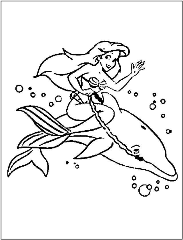 Ariel And A Dolphin Coloring Page Kids Coloring Page 119613