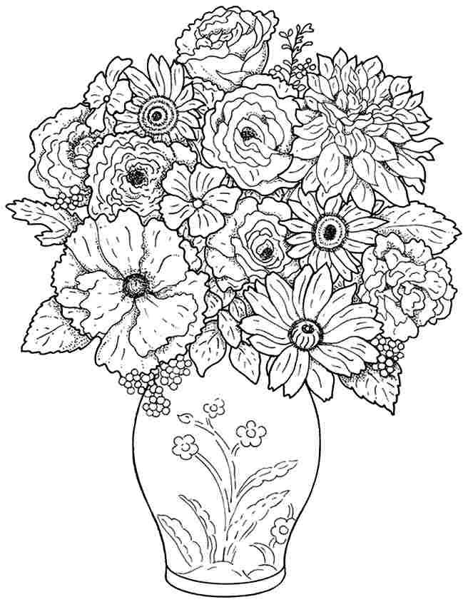 printable coloring pages flowers bouquet - photo#25