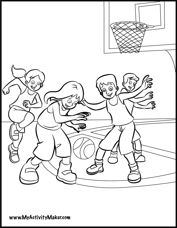 kid playing basketball coloring pages - photo#2