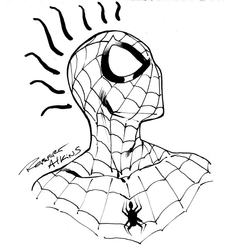 Robert Atkins Art: Spidey head sketch