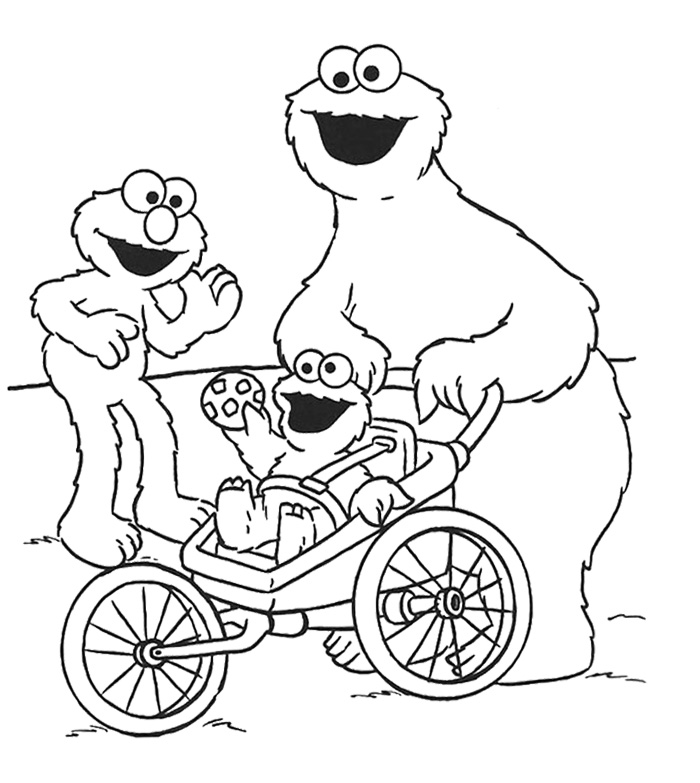 Cookie Monster And Elmo Was With Coloring Pages