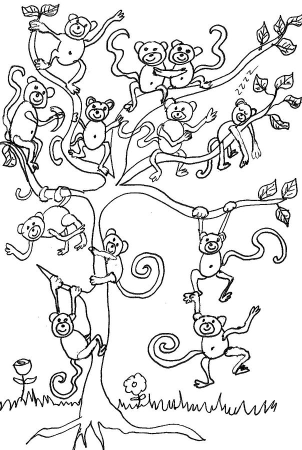 monkey tree by cherie sexsmith monkey tree drawing monkey tree - Coloring Pages Monkeys Trees
