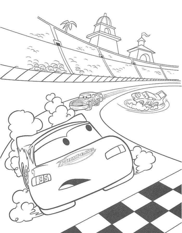 Speeding Car On The Track Coloring Page Race Car Car Track Coloring Page