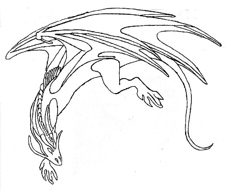 Simple Dragon Line Art : Simple dragon outline az coloring pages
