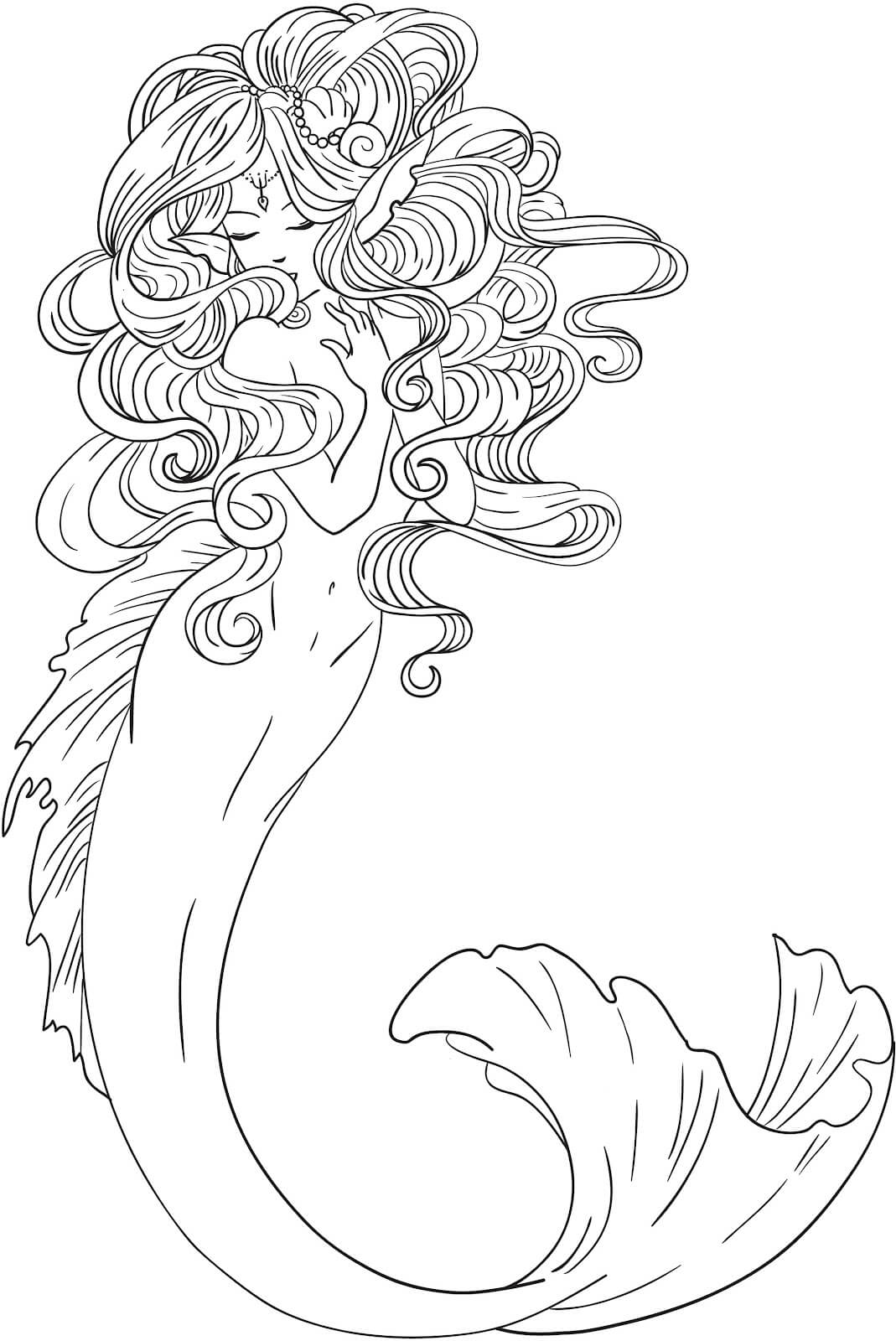 adult coloring pages mermaid coloring home