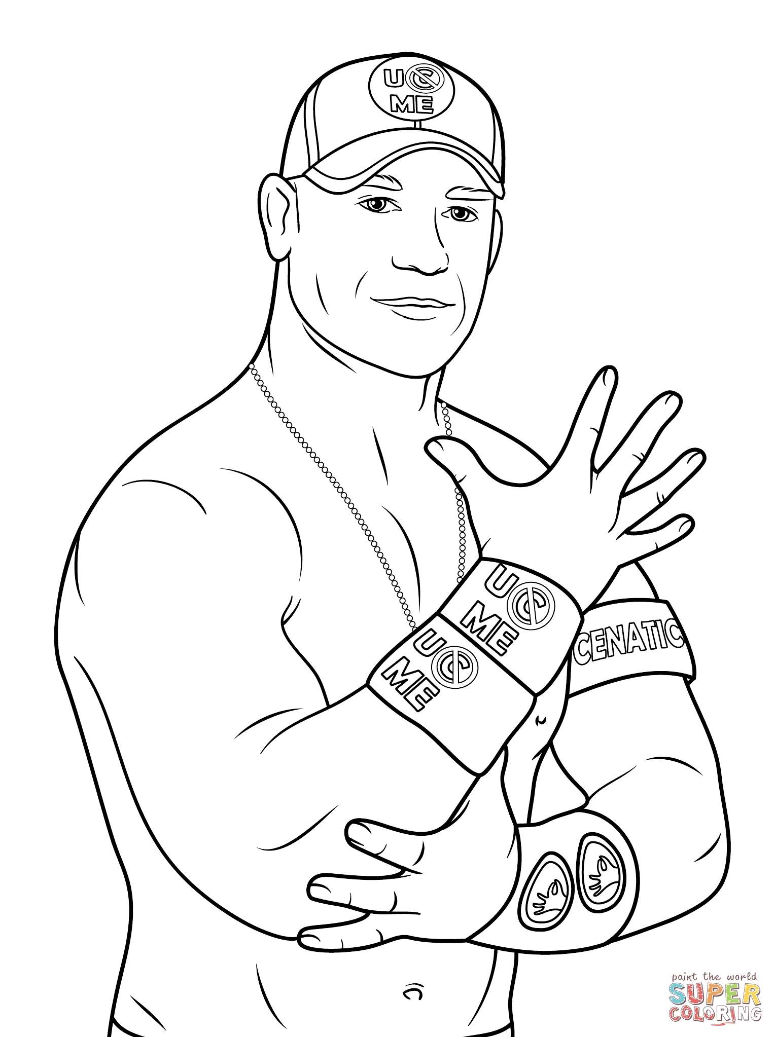 Wrestling coloring pages printable - John Cena Coloring Page