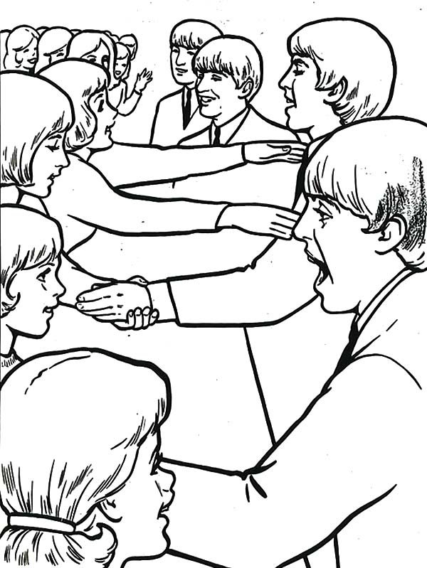 Meet and Greet with the Beatles Coloring Page