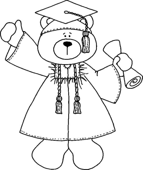 Bear Coloring Pages Pdf : Graduation teddy bear coloring page home