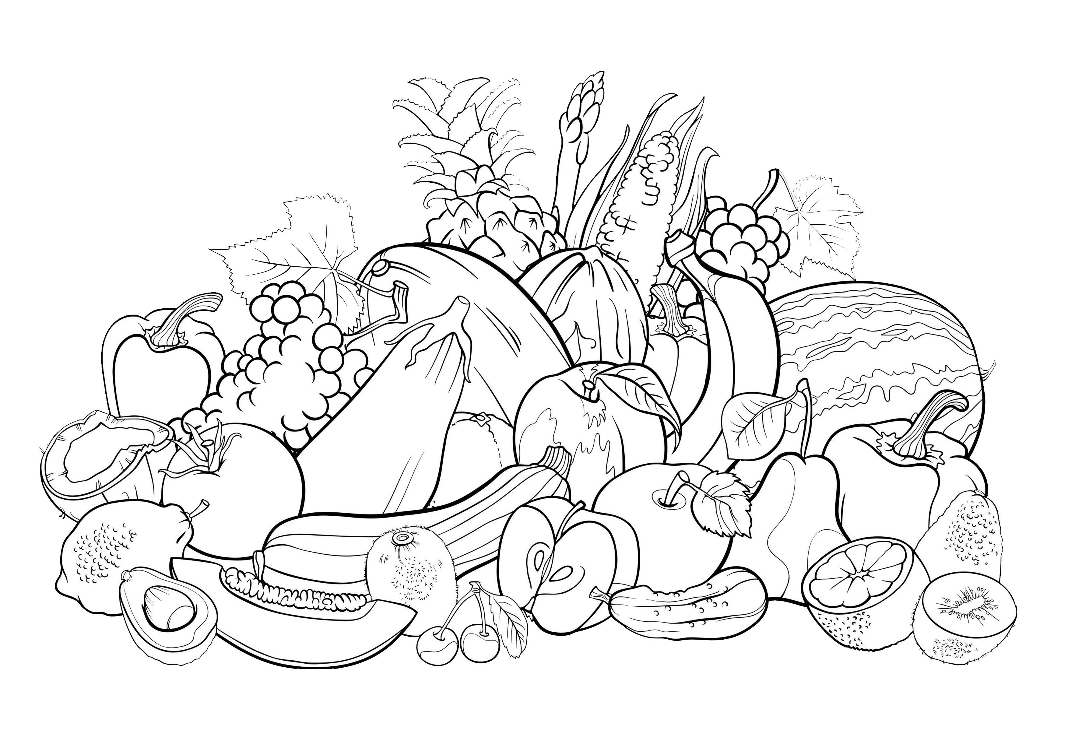 Free flower petals coloring pages coloring home for Fruit coloring pages for adults