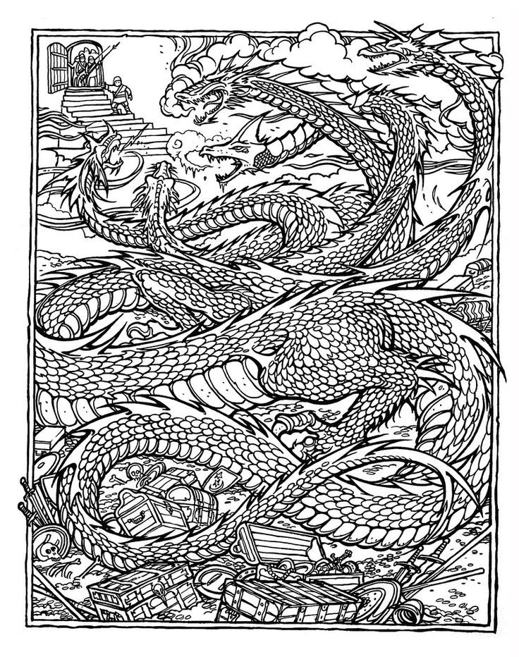 Free Printable Adult Dragon Coloring Pages Coloring Home