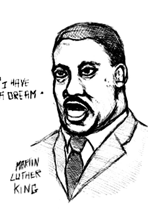 An Alternative Illustration of Martin Luther King Jr Coloring Page ...