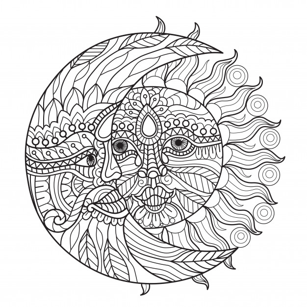 Sun and moon coloring pages for adults | Premium Vector