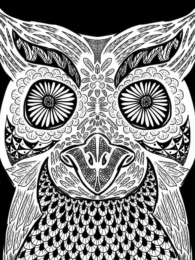 Psychedelic owl coloring pages the for Trippy coloring pages