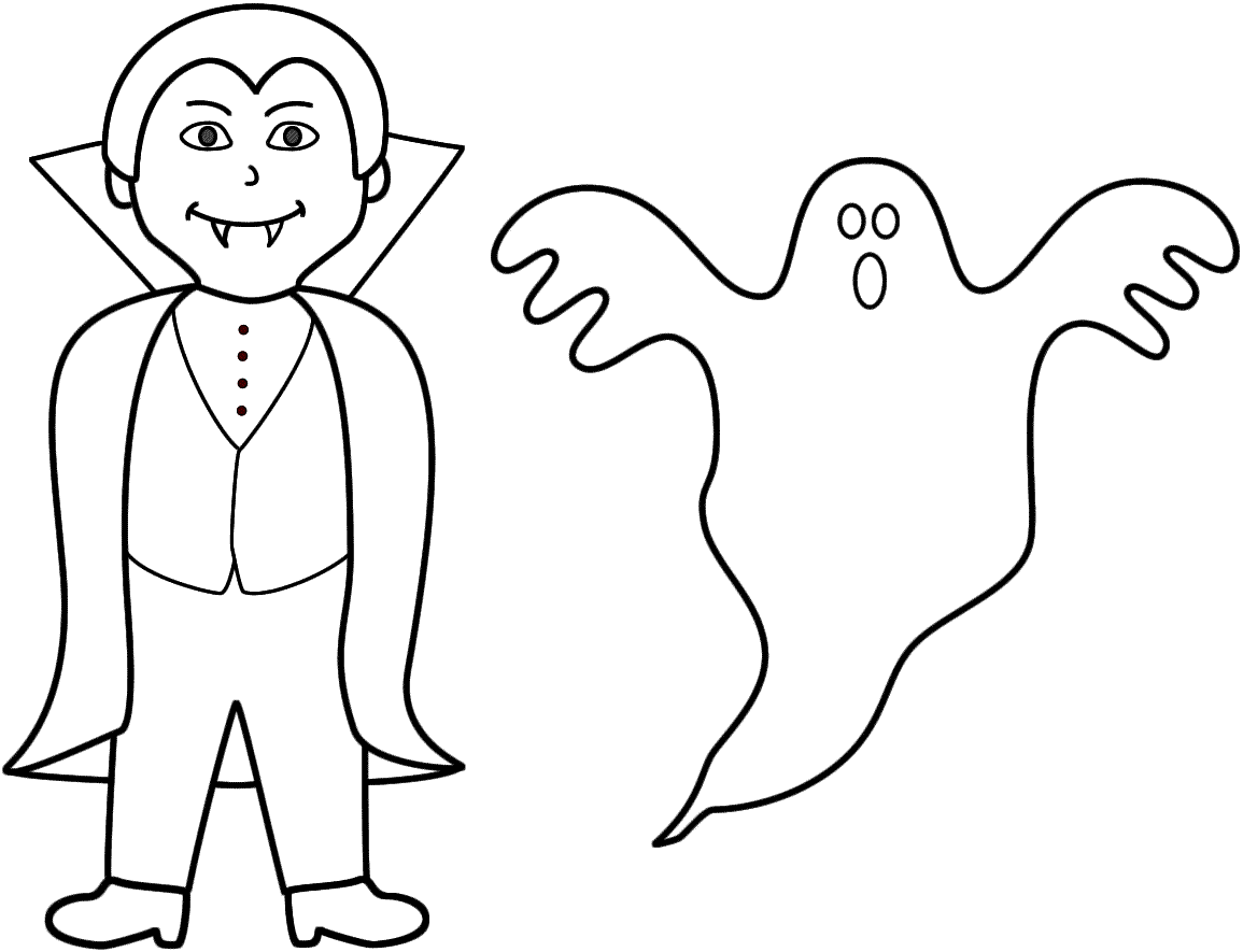 Vampire With A Ghost   Coloring Page Halloween   Coloring Home