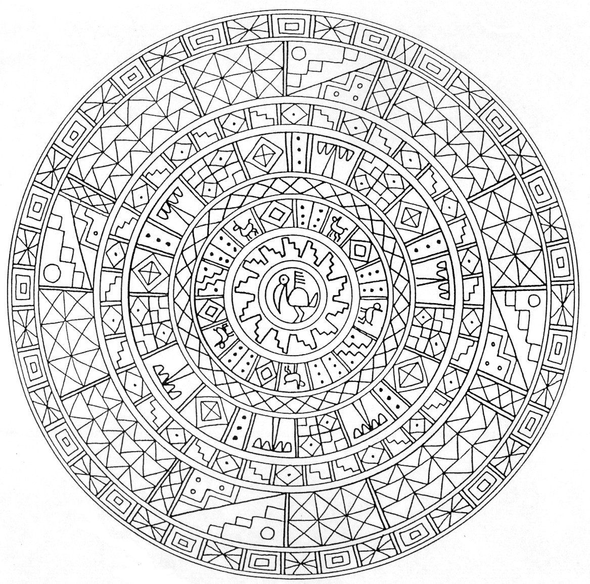 Aztec Calendar Coloring Pages And Aztec Coloring Home