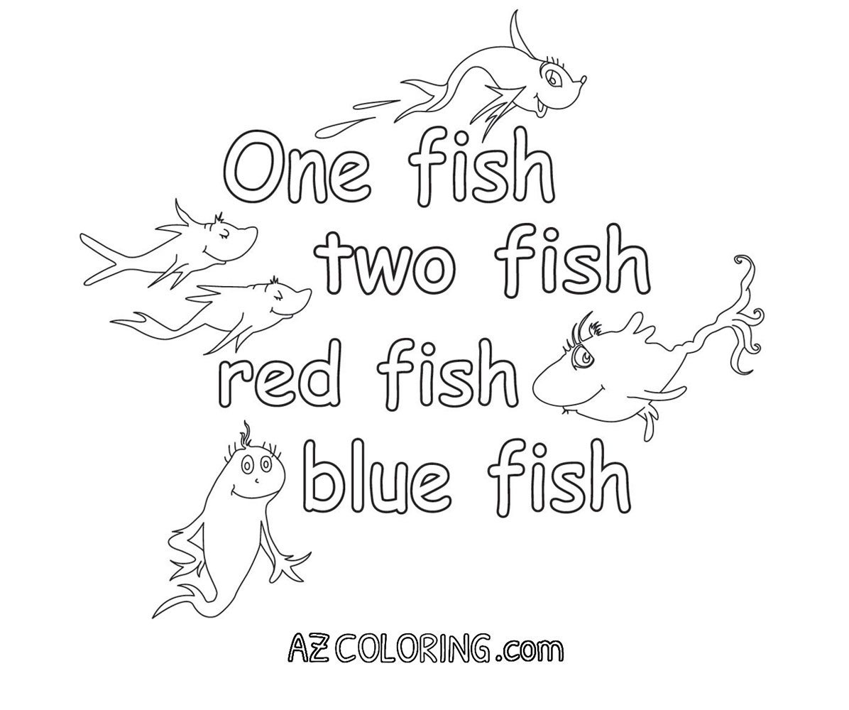 One fish two fish red fish blue fish coloring pages for One fish two fish printable