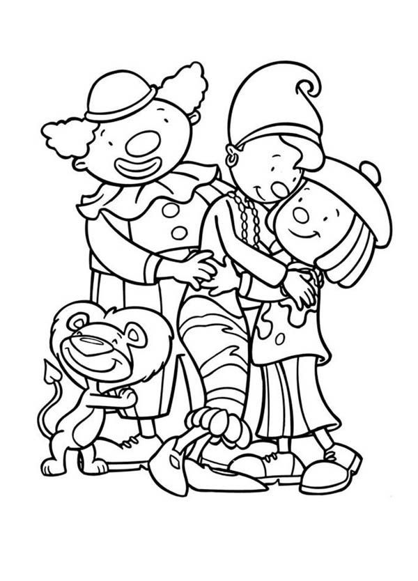 Jojo and Friends Hugging in Jojo's Circus Coloring Page - NetArt