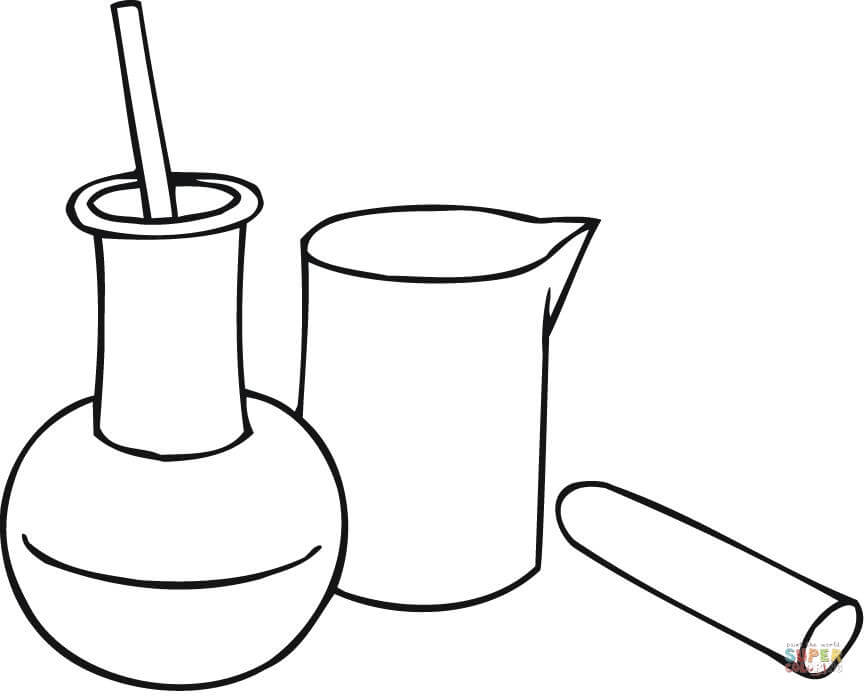 Chemistry Beakers Coloring Page | Free Printable Coloring Pages ...