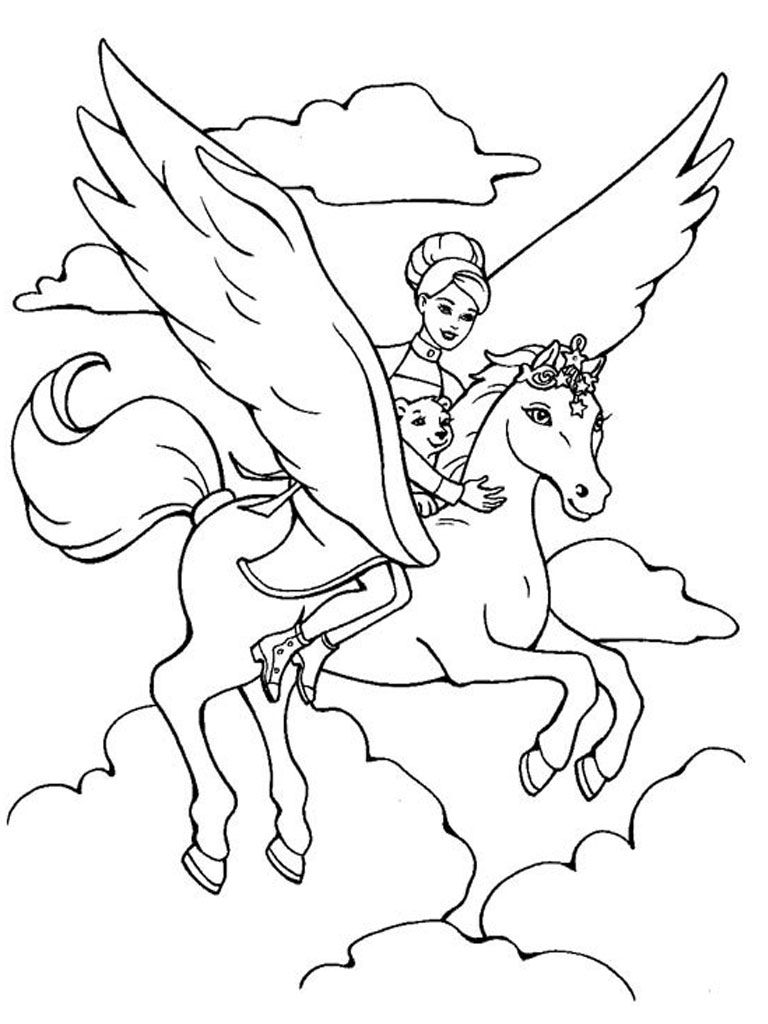 Magical unicorn coloring pages - Printable Pegasus Coloring Pages Coloring Me