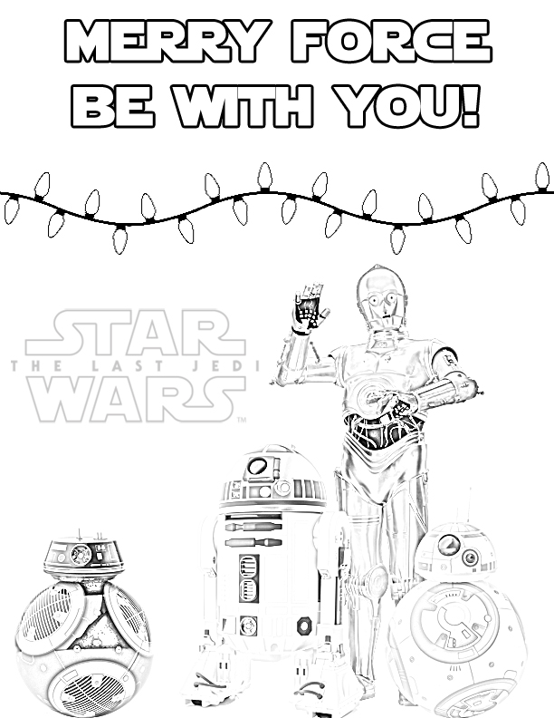 The Last Jedi Droids Holiday Coloring Page for Christmas or ...