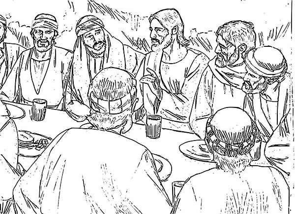 Jesus And Apostles In The Last Supper Coloring Page Jesus And