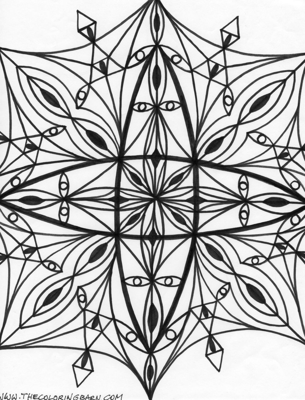 Kaleidoscope Coloring Page Coloring