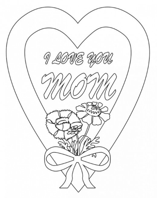 I Love You Mom Coloring Page  Coloring Home