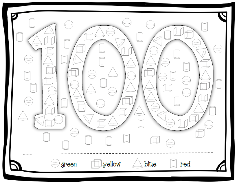 100th day of school color by number sketch coloring page for 100th day hat template