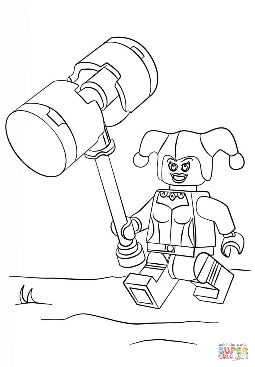 Lego Harley Quinn Coloring Page  Coloring Home