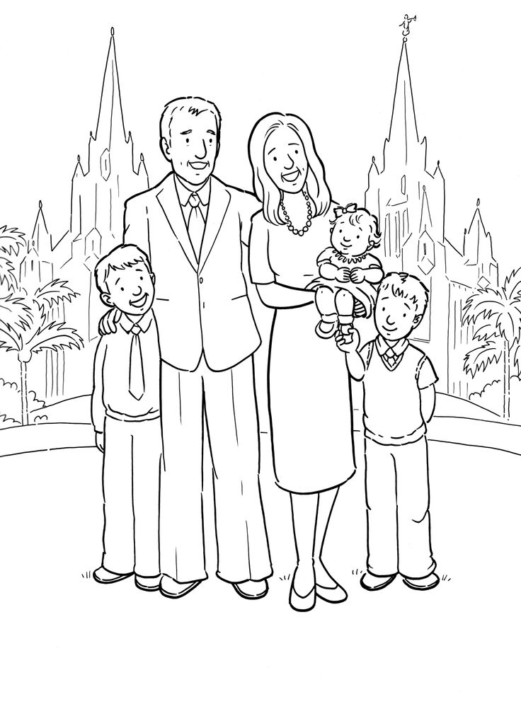 A Happy Family At The San Diego LDS Temple Coloring Page