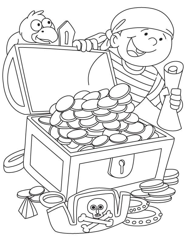 pirate treasure chest coloring pages - photo#4