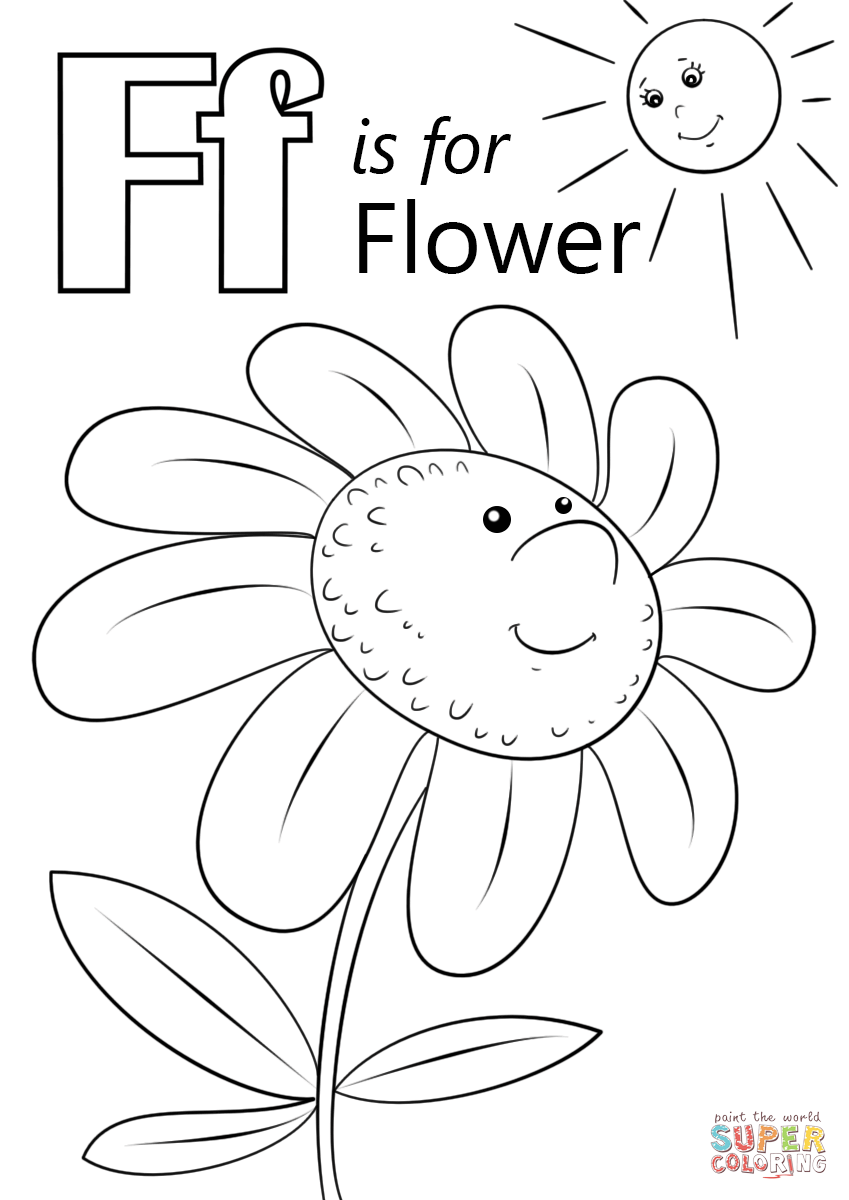 Letter F is for Flower coloring page | Free Printable Coloring Pages
