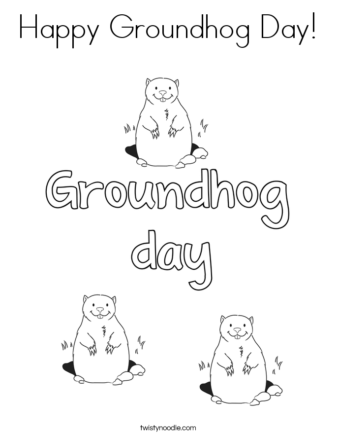 Groundhog day coloring pages twisty noodle coloring home for Groundhog day coloring page