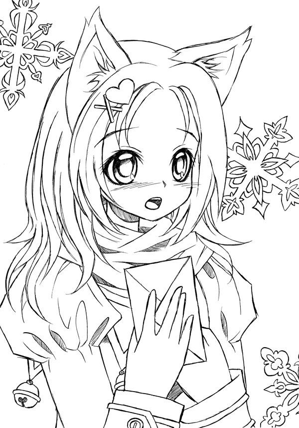 anime girl cat coloring pages - photo#4