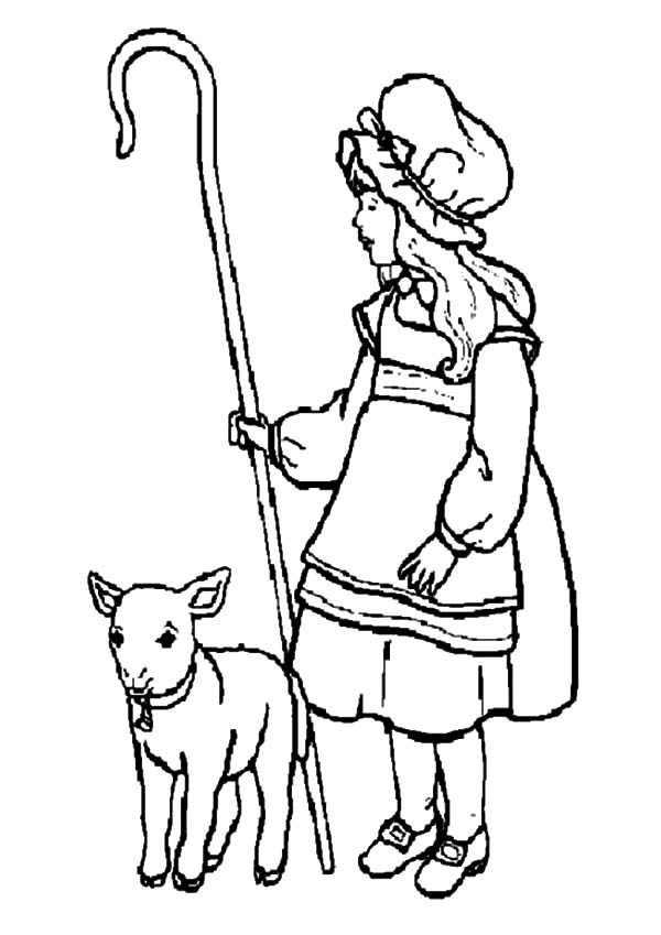 Mary Had A Little Lamb Running Beside Her Coloring Pages