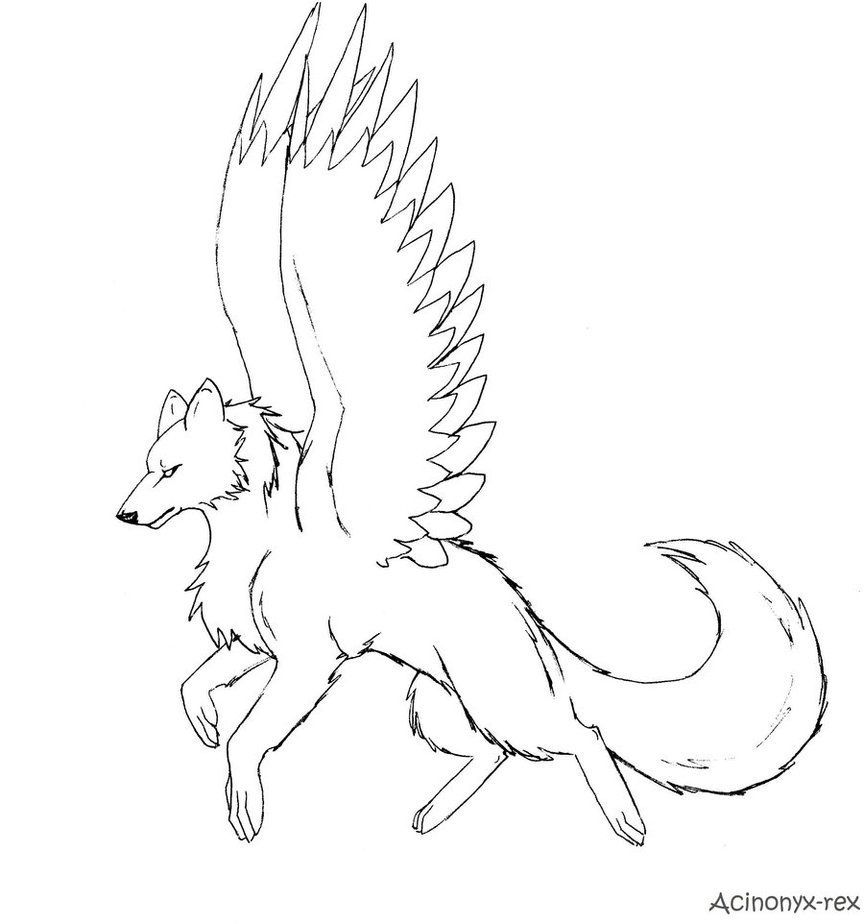 Anime Wolf With Wings Coloring Pages