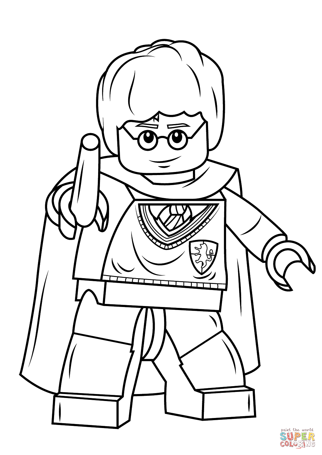 Lego harry potter with wand coloring page free printable