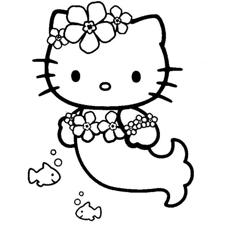 hello kitty mermaid coloring pages to download and print for free - Coloring Pages Kitty Mermaid