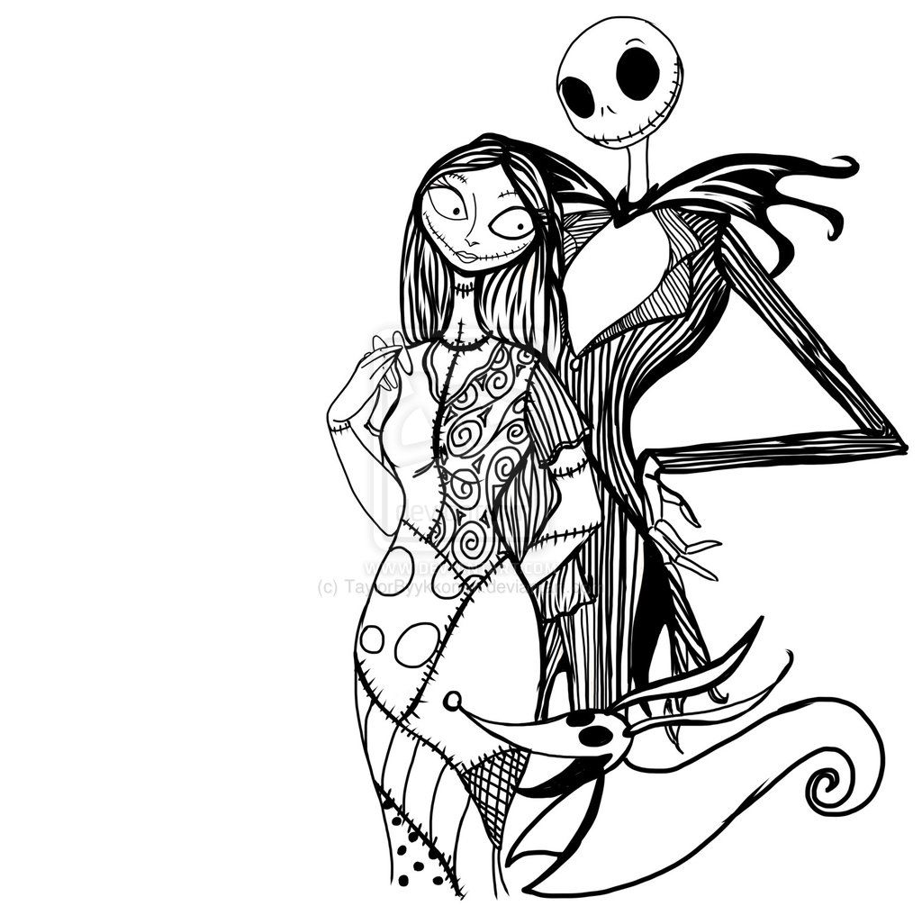 Pix For > Jack And Sally Nightmare Before Christmas Coloring Pages ...