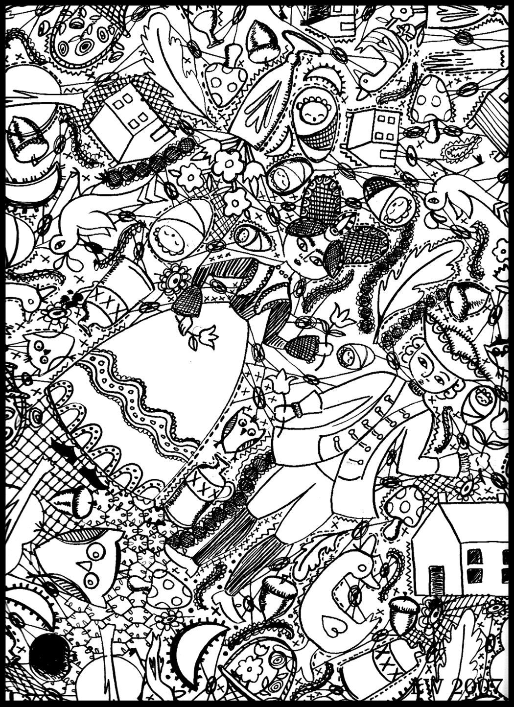 Free Doodle Art Coloring Pages - Coloring Home