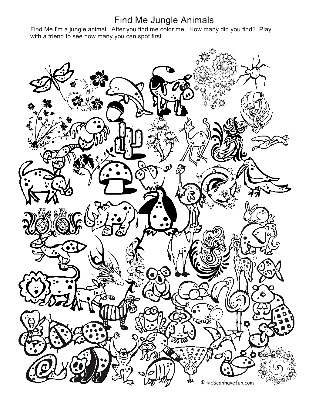 Jungle animals coloring pages free coloring home for Jungle coloring pages free