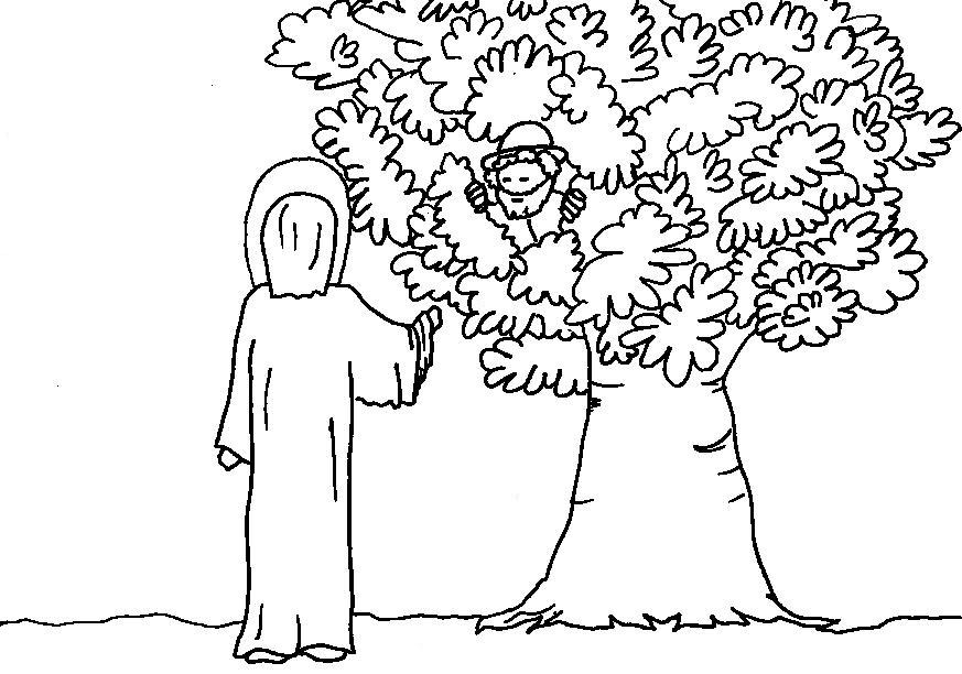 Coloring Pages For Zacchaeus : Jesus and zacchaeus coloring page home
