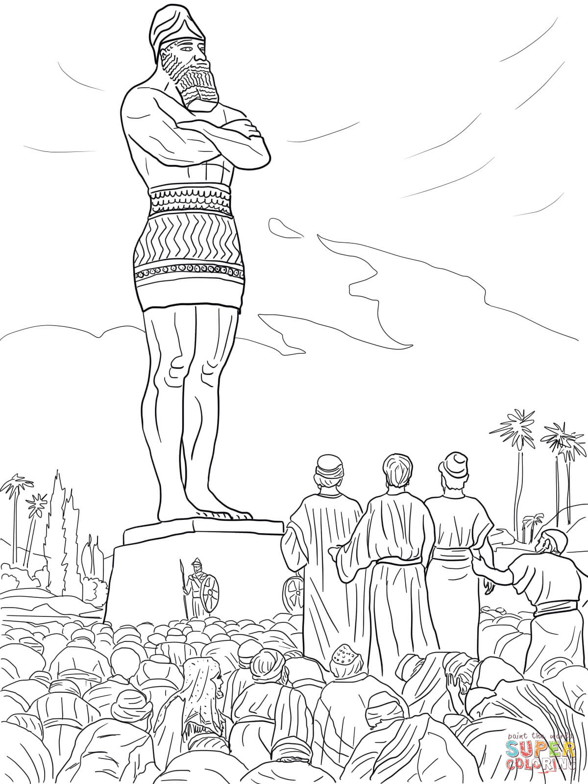 Daniel's Friends Refused to Worship the Statue coloring page | Free  Printable Coloring Pages