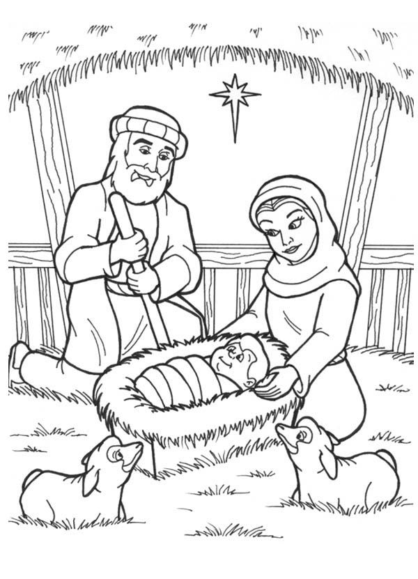 The Birth Of Jesus Coloring Page - Coloring Home