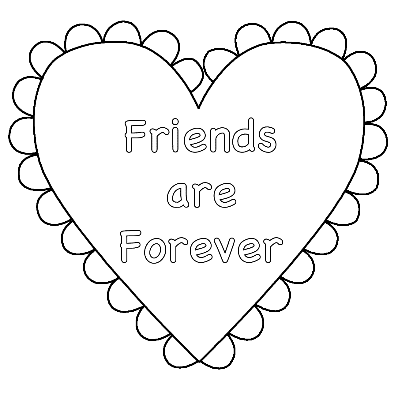 Heart (Friends Are Forever) - Coloring Page (Valentine\'s Day ...