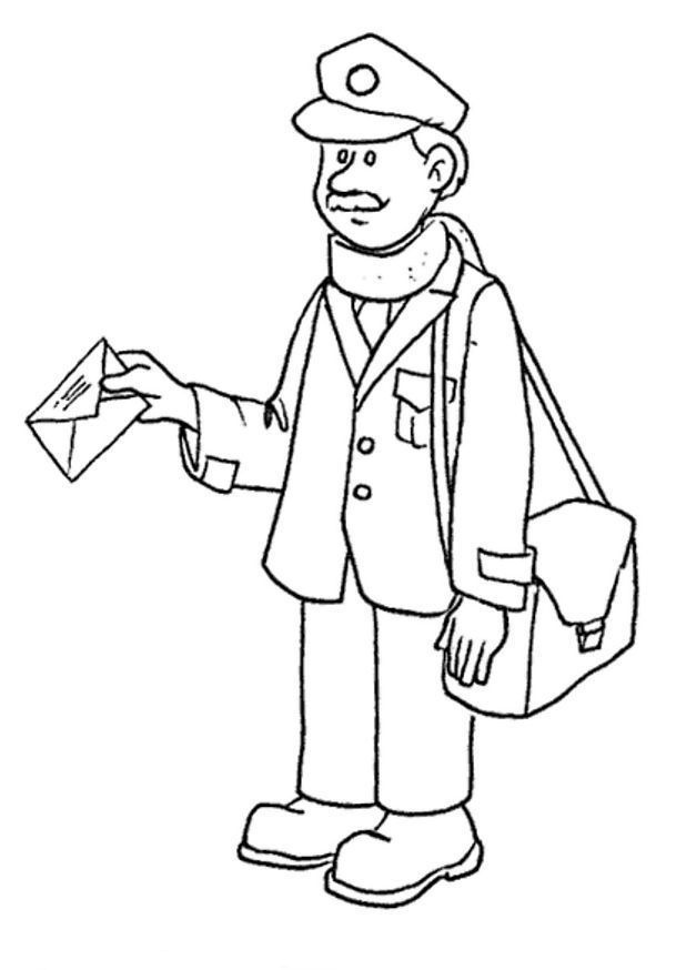 Postman 3 coloring page | Post Office | Pinterest | Coloring Pages ...