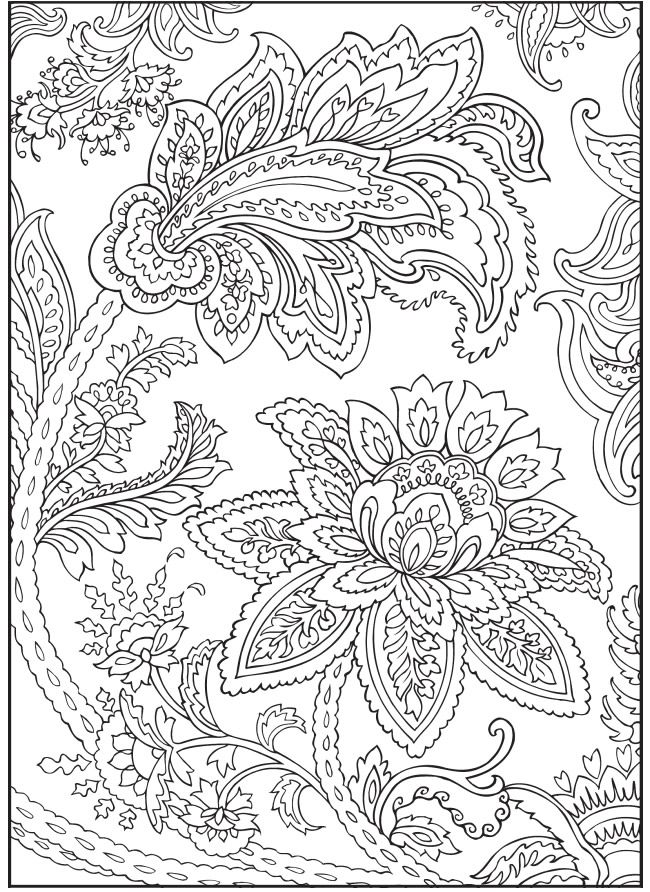 Paisley Flowers Abstract Doodle Coloring page