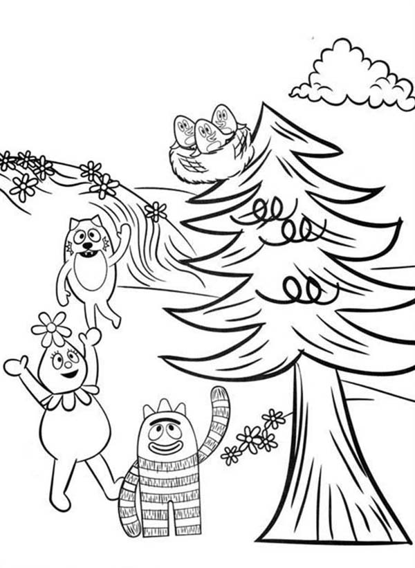 Brobee Foofa and Toodee Want to Save Baby Birds on Tree coloring page